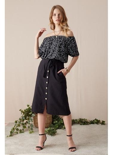 EKA Desenli Eteği Lastikli Kısa Bluz Siyah